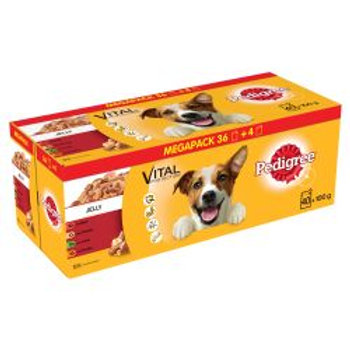 Pedigree Dog Pouches Mixed Selection in Jelly 40 for 36 Mega Pa