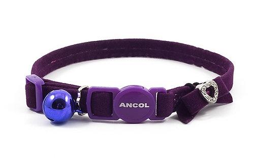 Ancol Velvet Heart Cat Collar Purple