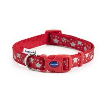 Ancol Reflective Star Adjustable Collar Red
