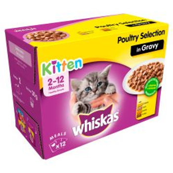 WHISKAS 2-12 Months Kitten Pouches Poultry Selection in Gravy 12x100g pk, 100G