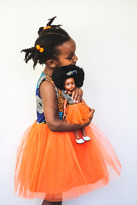 Sibahle Bontle Doll Clothing and Matching Child Dress – Orange