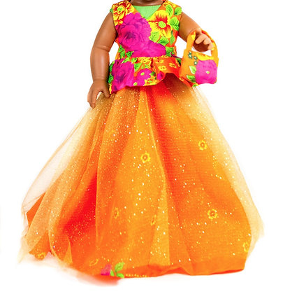 Sibahle Clothing - Nobhule gown + blouse (orange)