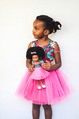 Sibahle Bontle Doll Clothing and Matching Child Dress – Pink