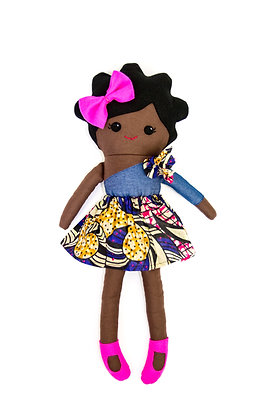 LBA Rag Doll - Black Girl (African Print)