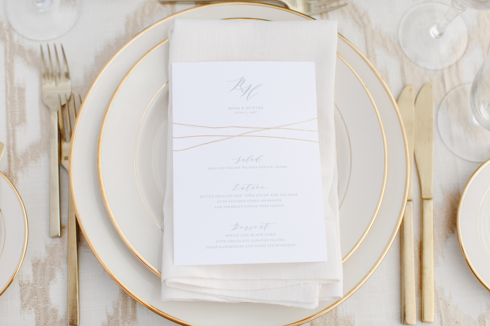 Printed Menu with Wire Wrap