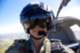 Aviation photographer Su Khoo taking a selfie in flight in a Scottish Aviation Bulldog