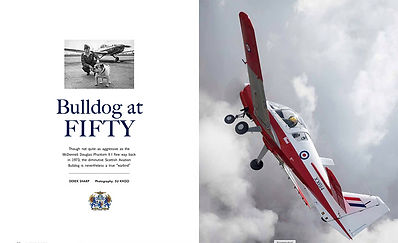 Opening pages of an article in Warbird Digest about the Scottish Aviation Bulldog by Derek Sharp with aviation photography by Su Khoo