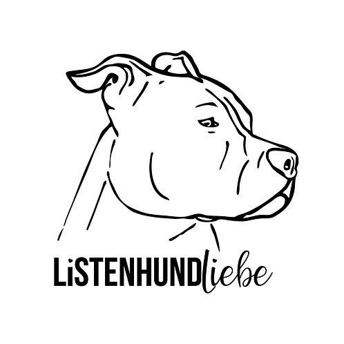 """Autoaufkleber """"ListenhundLiebe"""", schwarz"""