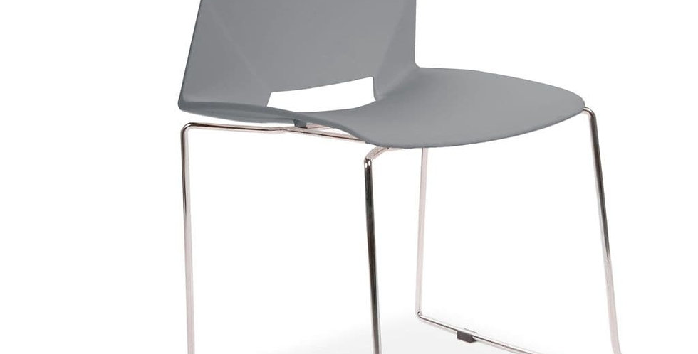 All Square Stackable Plastic Dining Chairs, Grey
