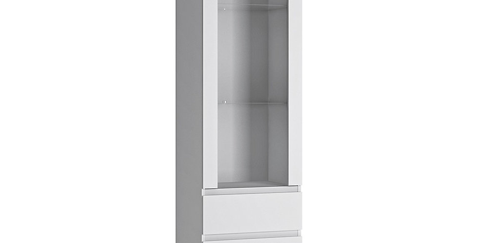 Fribo Tall narrow 1 door 3 drawer glazed display cabinet (white)