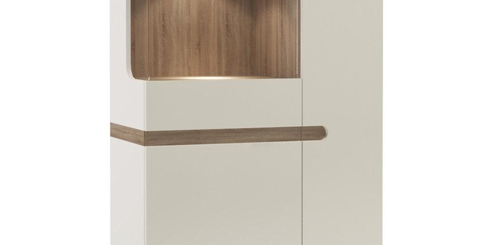 Chelsea Cabinet 85 cm wide in white with an Truffle Oak Trim