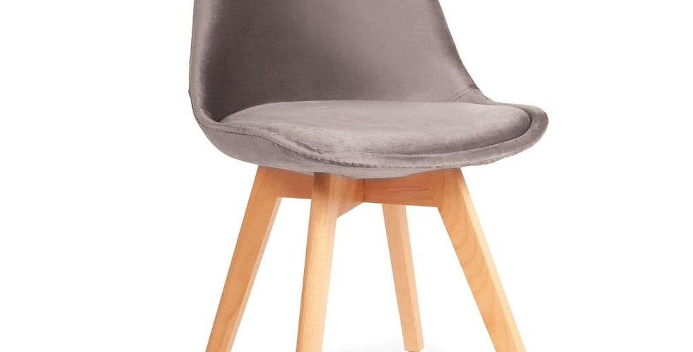Light Grey Velvet Tulip Dining Chairs, with Beech Legs