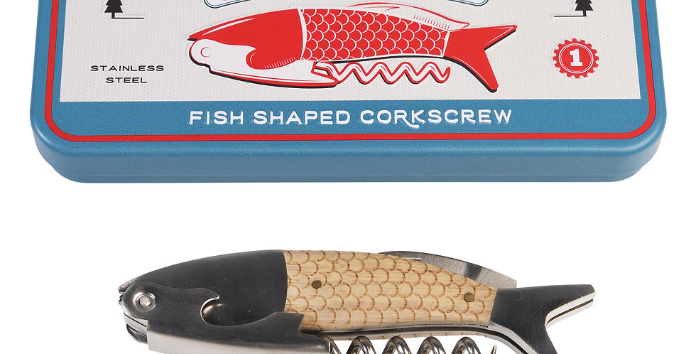 FISH SHAPED CORKSCREW IN A TIN