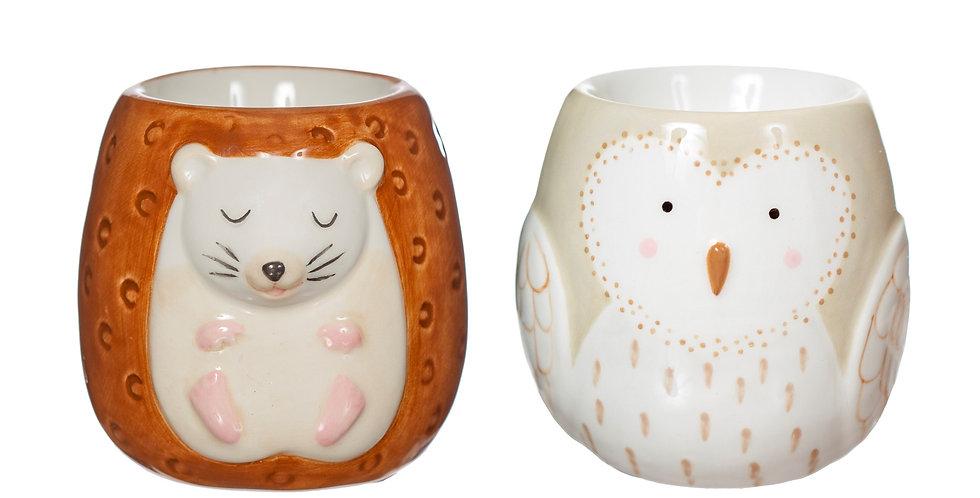 FOREST FOLK OWL & HEDGEHOG EGG CUPS - SET OF 2