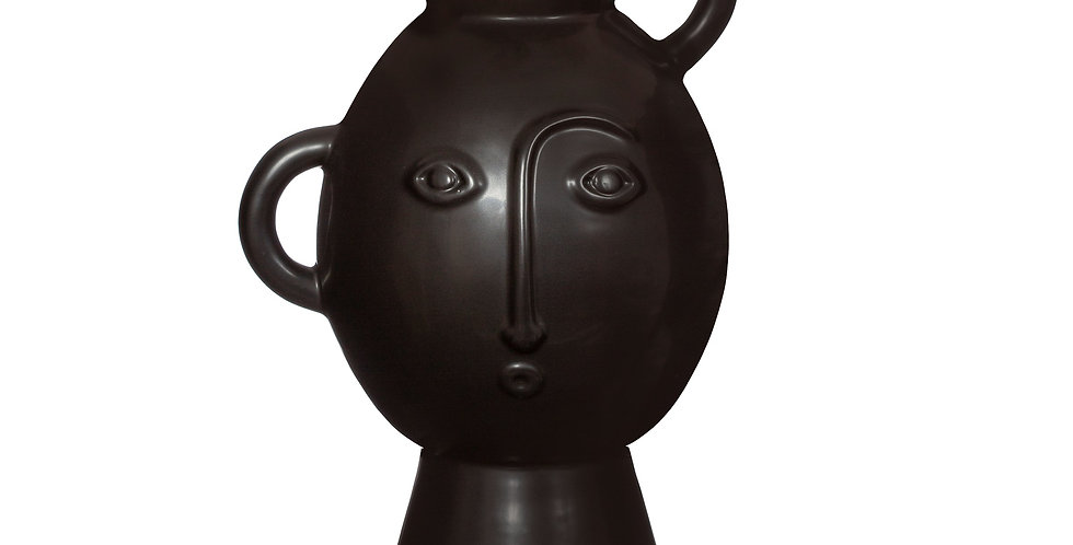 AMIRA VASE WITH HANDLES MATT BLACK