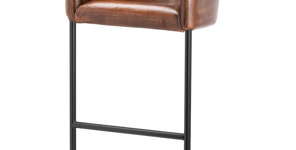 Billy Leather Ribbed Bar Chair