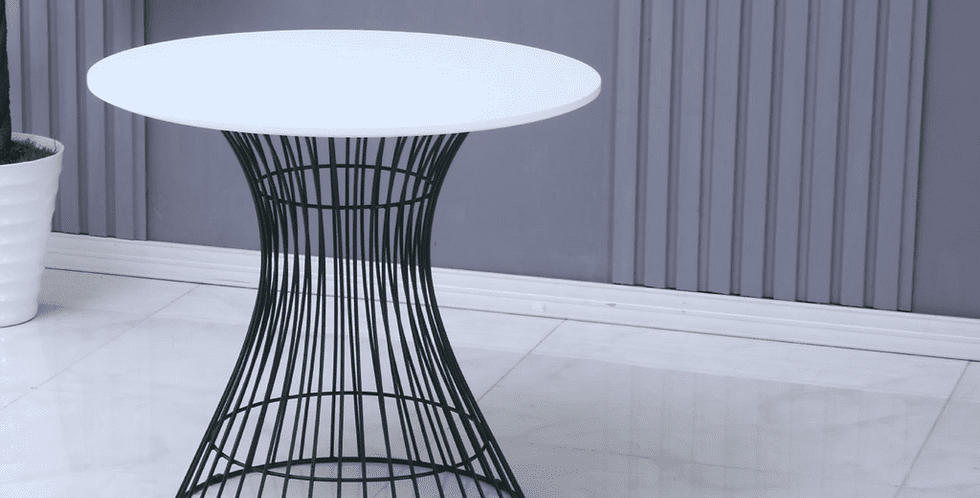 Neo Hourglass White round Dining table with Black leg