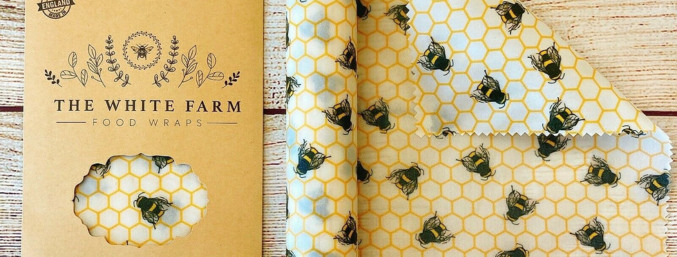 XXLong Wrap Beeswax Food Wrap,  Bees On White (3m roll)