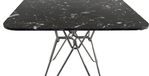 Modern black square Hairpin Dining table with stainless leg