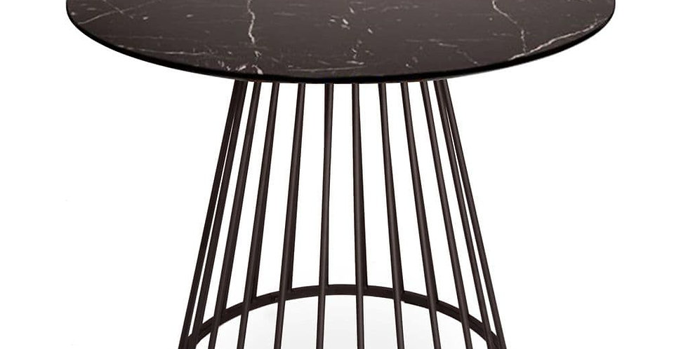 Black Liverpool Marble Table with Black Legs 100cm