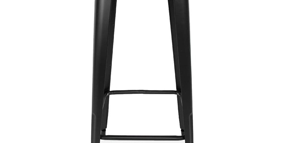Retro Tolix Style Black Metal Bar table With Wooden top