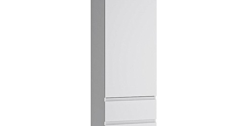 Fribo Tall narrow 1 door 3 drawer cupboard (white)