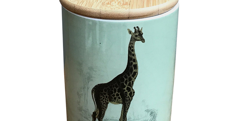 Ceramic Canister With Giraffe Print