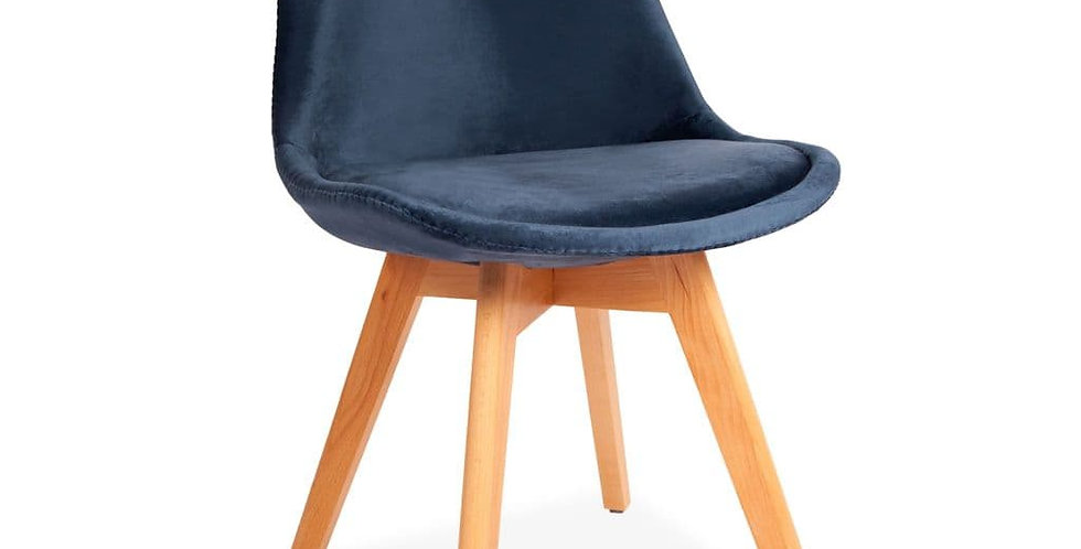 Blue Tulip Velvet Dining Chairs, with Beech Legs