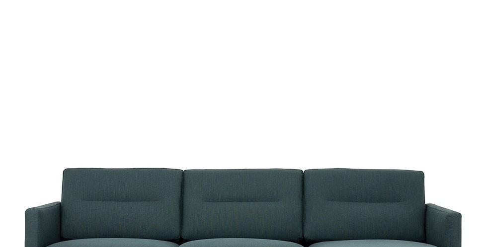 Larvik Chaiselongue Sofa (RH) - Dark Green, Black Legs