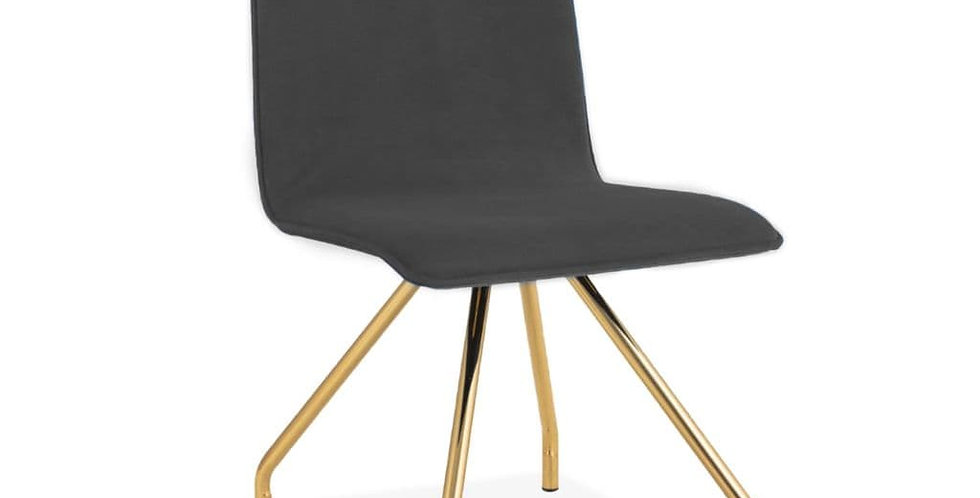 Grey Upholstered Spider Leg  Dining Chair
