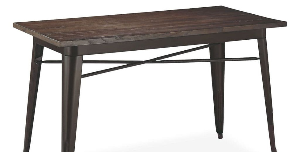 Retro Tolix Style Brown Metal table With Wooden top - Brown
