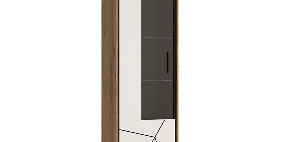 Brolo Tall Glazed Display Cabinet (LH Walnut and Dark Panel)