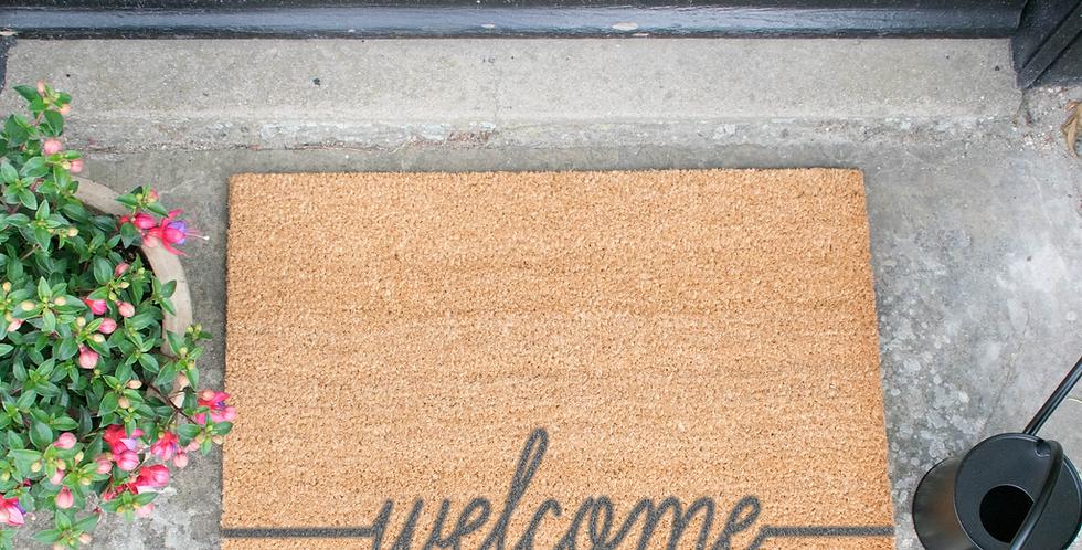 Welcome Scribble Grey Doormat