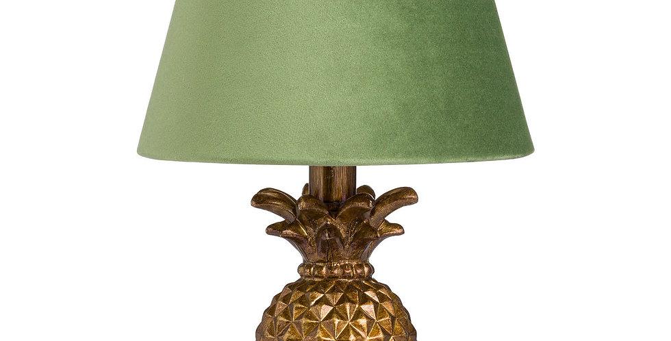 Antique Gold Pineapple Lamp With Artichoke Green Velvet Shade