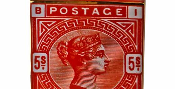 Large Postage Stamp Decorative Ginger Jar, Burnt Orange