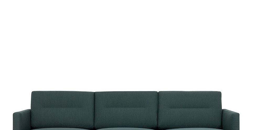 Larvik Chaiselongue Sofa (RH) - Dark Green, Oak Legs