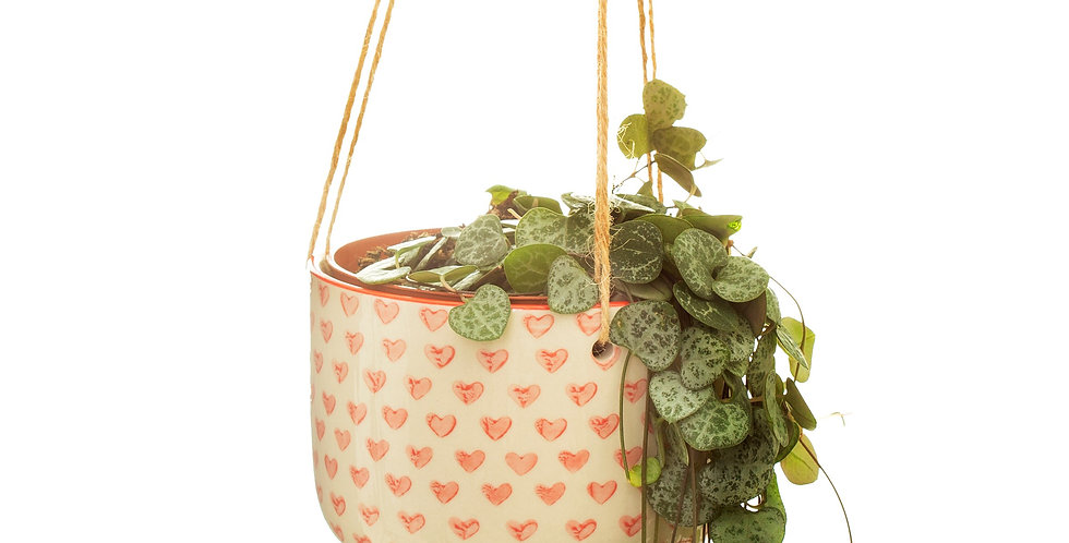 RED LOVE HEART HANGING PLANTER