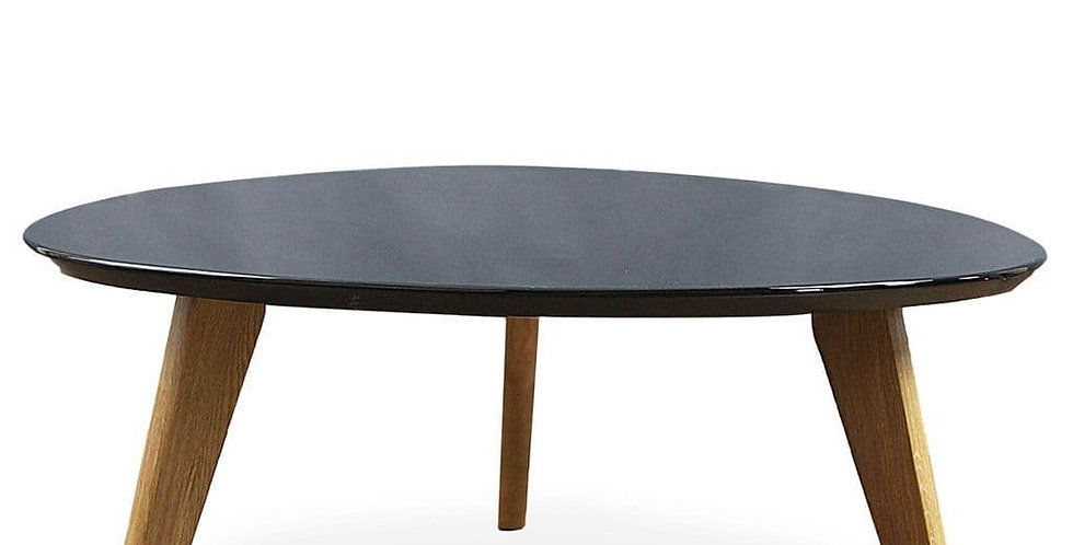 Wagen Round Coffee Table, Matte Black 90cm