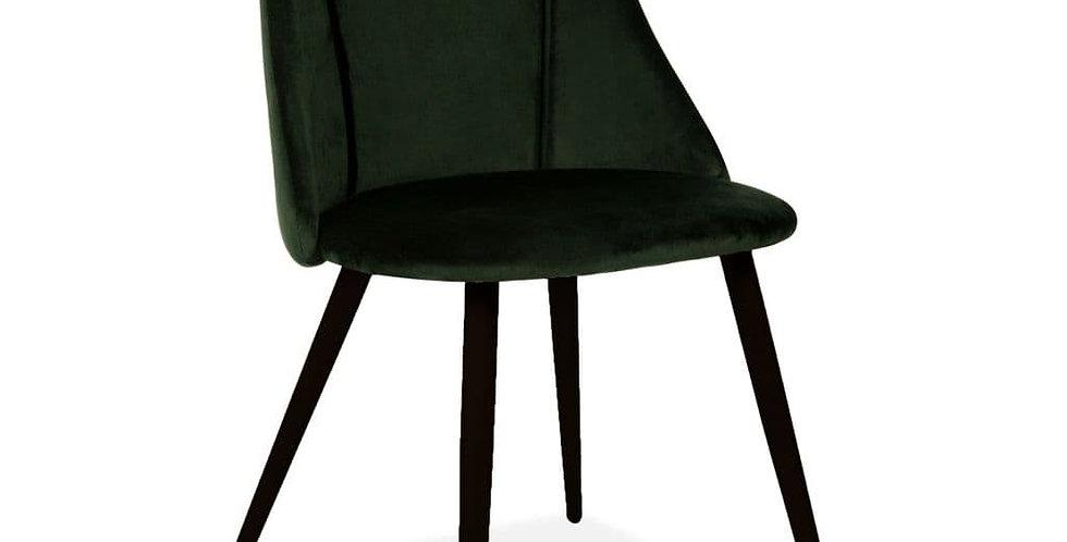 Lule Velvet Velvet Dining Chair, Deep Green, Black Legs