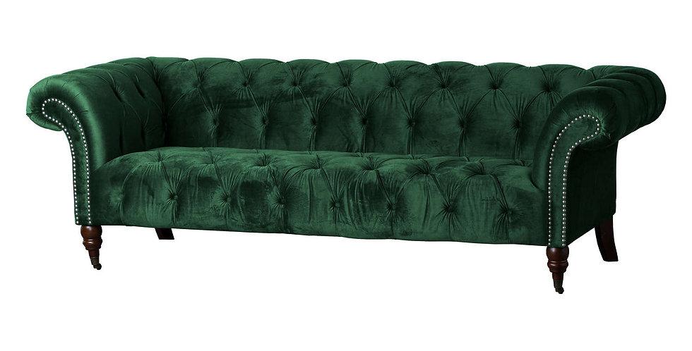 Emerald Velvet Chesterfield Three Seater Sofa