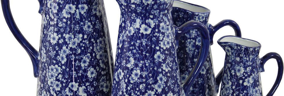 Set of 4 Ceramic Jugs, Vintage Blue & White Daisies Design