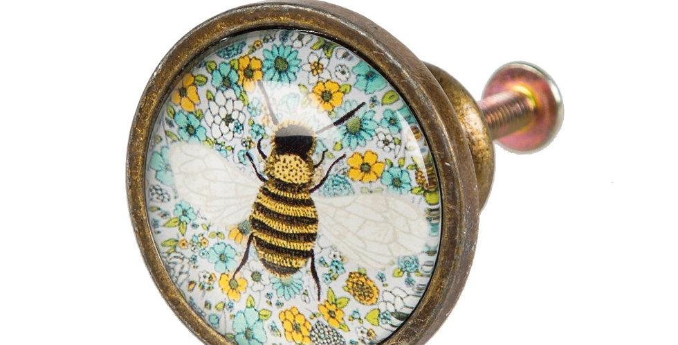 SUMMER FLORAL BEE DRAWER KNOB x2
