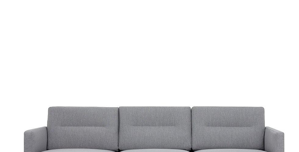Larvik Chaiselongue Sofa (LH) - Grey, Oak Legs