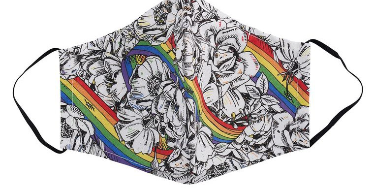 Rainbows & Roses Fitted Face Mask