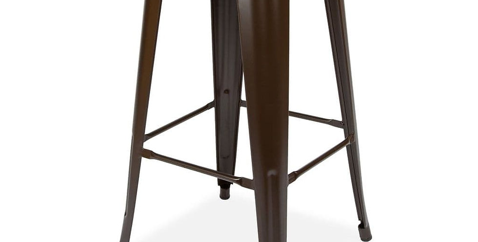Tolix Metal Barstool Stackable Dining Barstool, Wood