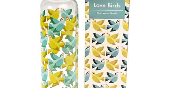LOVE BIRDS 420ML GLASS DRINKING BOTTLE