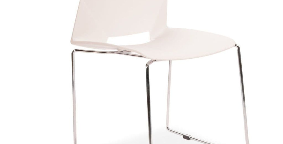 All Square Stackable Plastic Dining Chairs, White