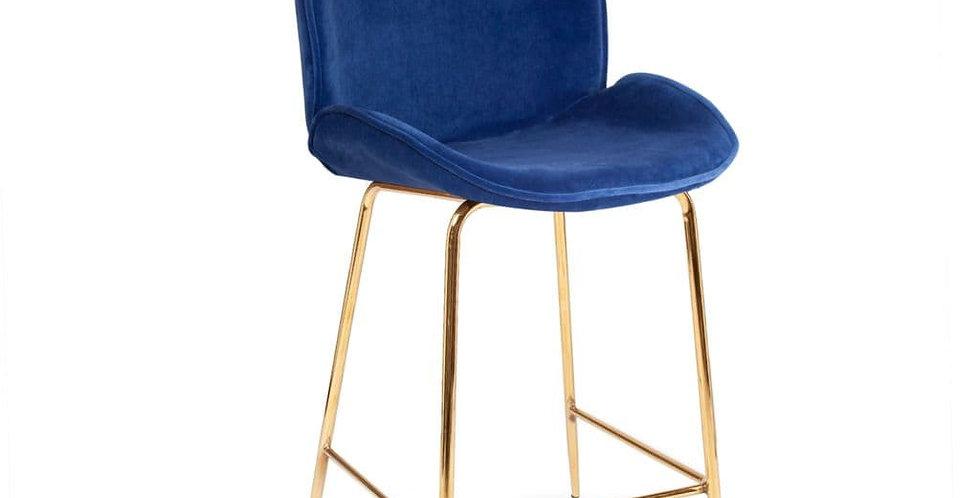 Deep Blue Journey Velvet Barstool, with Gold Legs 65cm