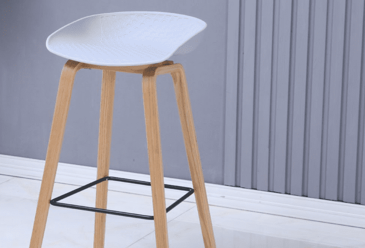 About a Stool, Light Grey Barstool with Beech Wood Legs