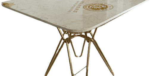 Modern white square Hairpin Dining table with gold leg